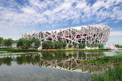 China National Olympic Stadium *. China National Olympic Stadium as known as Bird Nest  is the most famous landmark in Beijing, China. The 2008 Summer Olympics Royalty Free Stock Images