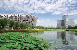China National Olympic Stadium. As known as Bird Nest is the most famous landmark in Beijing, China. The 2008 Summer Olympics took place at this stadium Stock Photo