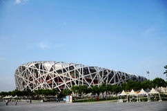 China national stadium, birds' nest. Beijing, China - May 22, 2011: travellers in front of Beijing National Stadium Located on Beijing Olympic Green, the Beijing Royalty Free Stock Photo