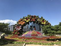 China-Nationalfeiertagfeiern Blumendekoration stockfotos