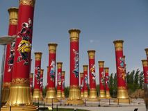 China nationalism poles. In the Olympic green park, Beijing stock photo