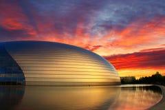 China NCPA in zonsondergang, Peking royalty-vrije stock foto's