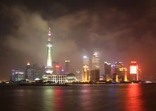China. Night view of Shanghai. Pudong district Stock Photography