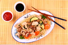 China noodle with chicken meat, vegetables, sauces Royalty Free Stock Photos