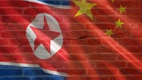 China and North Korea flag. On wall royalty free illustration