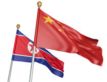 China and North Korea flags flying together for important diplomatic talks, 3D rendering. National flags from China and North Korea flying side by side to Royalty Free Stock Images