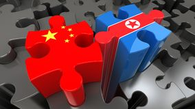 China and North Korea flags on puzzle pieces. Stock Image