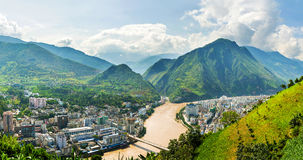 China Nujiang Grand Canyon arise from six libraries town Stock Image