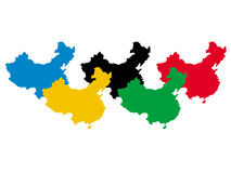 China in olympic colours Royalty Free Stock Photos