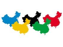 China in olympische kleuren vector illustratie
