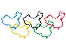 China in olympische kleuren Stock Afbeelding