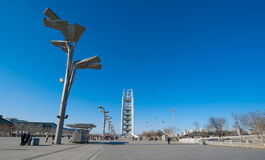 China-olympischer Park Fernsehkontrollturm in Peking Stockfotos