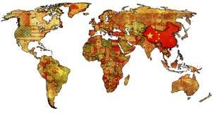 China op kaart van wereld Royalty-vrije Stock Afbeeldingen