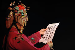 China opera  actress look letter Royalty Free Stock Photos