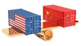 China ou o comércio e as tarifas dos EUA equilibram o conceito, rendição 3D ilustração royalty free