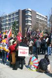 China Out of Tibet. A group of demonstrators protesting China's occupation outside the Chinese Embassy in Toronto, Ontario, Canada on March 28, 2009 Royalty Free Stock Image