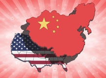 China Overshadowing USA. China dominating and overshadowing the USA. Conceptual illustration Royalty Free Stock Photo