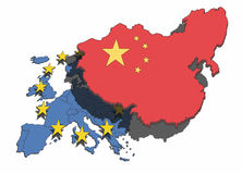 China Overshadows Europe. Illustration of China overshadowing and dominating the European nations and union Royalty Free Stock Photo