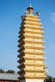 China pagoda on blue sky Royalty Free Stock Image