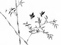 China painting bamboo and bird. On paper Stock Photo