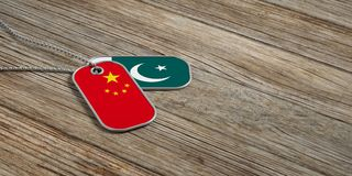 China and Pakistan military relations, Identification tags on wooden background. 3d illustration. China and Pakistan military relations, Identification dog tags Stock Images
