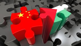 China and Palestine flags on puzzle pieces. Royalty Free Stock Photos