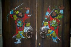 China Paper cuts on the door Royalty Free Stock Image