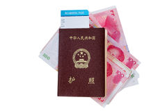 China Passport with money on white Royalty Free Stock Photos