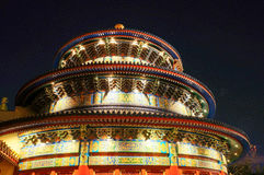 The China pavilion at Epcot in Walt Disney World. Orlando, FL, Replica of the Temple of Heaven, which contains the entrance to Reflections of China, a Circle royalty free stock image