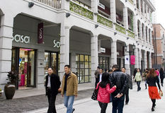 China:pedestrian street. New built Han Street in Wuhan city of China,many people shopping or have fun there.Taken on March 24th,2012 Royalty Free Stock Photos