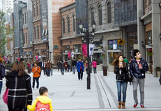 China:pedestrian street. New built Han Street in Wuhan city of China,many people shopping or have fun there.Taken on March 24th,2012 Stock Photos