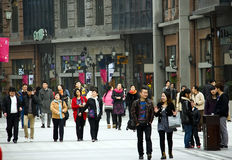 China:pedestrian street. New built Han Street in Wuhan city of China,many people shopping or have fun there.Taken on March 24th,2012 Royalty Free Stock Image