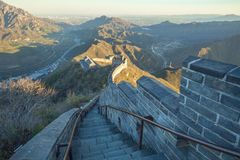 China, Pekin, China wall, sunset, history. 2016. Big China wall at Pekin, sunset, history building. 2016 Travel photo stock photos