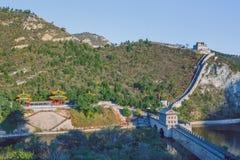 China, Pekin, de muur van China, zonsondergang, geschiedenis 2016 stock foto's