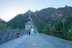 China, Pekin, China-Wand, Sonnenuntergang, Geschichte 2016 stockfotografie