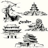 China, Peking - chinese heritage. Hand drawn collection Royalty Free Stock Images