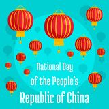 China people national day concept background, flat style. China people national day concept background. Flat illustration of China people national day concept royalty free illustration