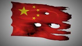 China perfurou, queimado, alfa de ondulação do laço da bandeira do grunge video estoque