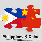 China and Philippines flags in puzzle Stock Images