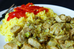 China pig meat and curry rice detail. Take a photograph 31. December 2015 Jablonec above Nisou, Czech Republic pork meat smithereens with leek, onion, mushroom stock photos