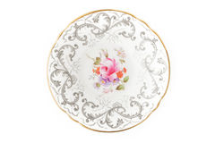 China plate on the white background. Top view royalty free stock photography