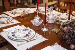 China Plates on Formal Dining Room Royalty Free Stock Image