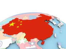Flag of China on bright globe. China on political globe with embedded flags. 3D illustration Stock Photography