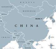 China political map Stock Photography