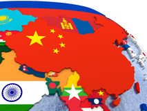 China on political map Royalty Free Stock Images