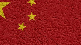 China politics or business concept: Chinese flag wall with plaster, texture stock video