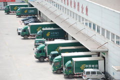 China post Delivery Truck Stock Photo