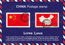 China postage stamp, vintage stamp, air mail envelope. Stock Image