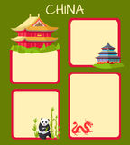 China Poster with Empty Spaces and Oriental Signs Royalty Free Stock Photography