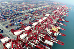 China Qingdao port container terminal Stock Photos